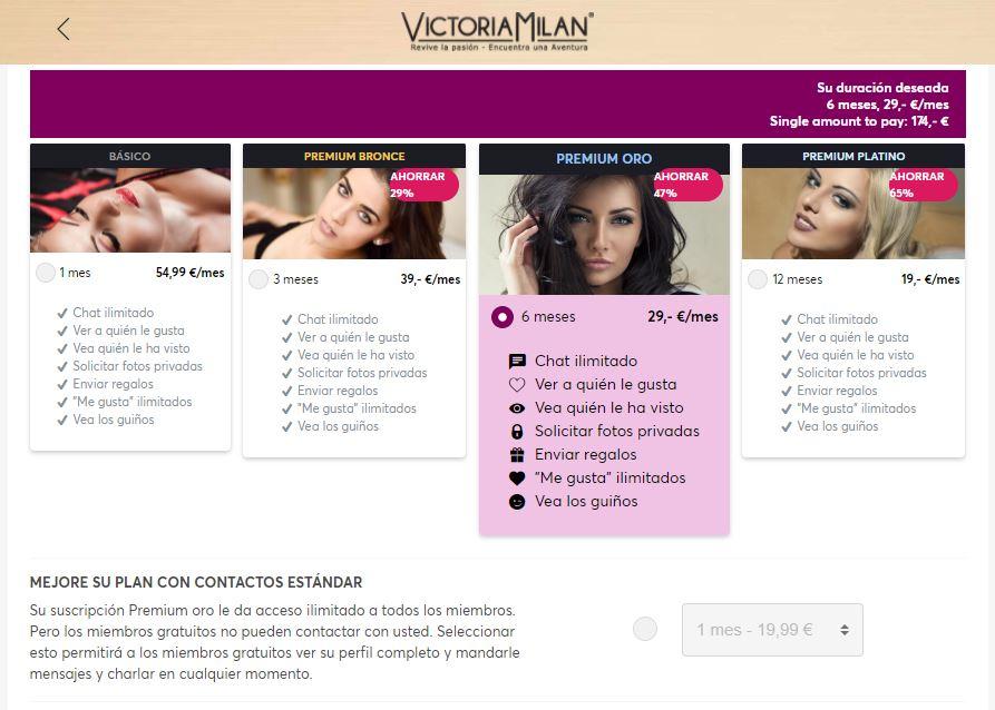 Planes y Tarifas de Victoria Milan